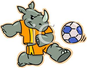Animals playing soccer clipart image transparent stock A Rhino Playing Soccer Clipart Image image transparent stock