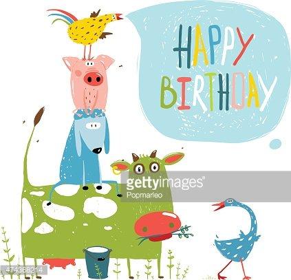 Animals pyramid clipart banner Birthday Fun Cartoon Farm Animals Pyramid Greeting Card premium ... banner