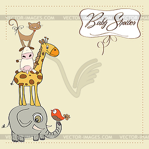 Animals pyramid clipart image black and white library Baby shower card with funny pyramid of animals - vector clipart image black and white library
