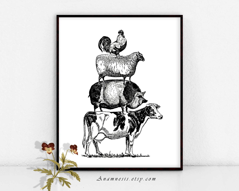 Animals pyramid clipart image free Vintage farm animal clipart - Clip Art Library image free