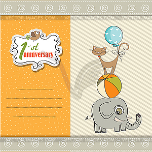 Animals pyramid clipart graphic black and white library First anniversary card with pyramid of animals - color vector clipart graphic black and white library