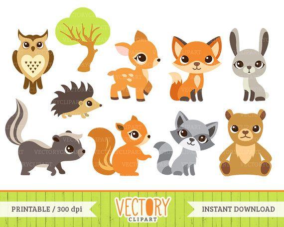 Wood creature soft clipart jpg 10 Woodland Animal Clip Art, Forest Animals, Animal Clipart (Fox ... jpg