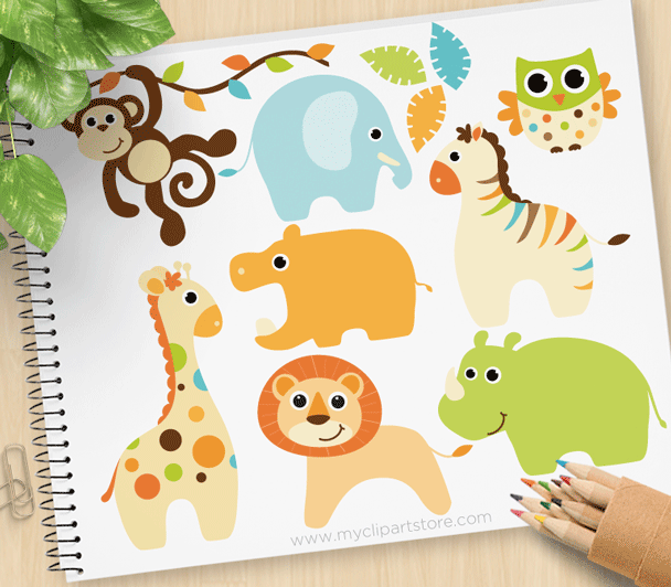Animals with babies clipart free library Baby Boy Safari Animals Clipart free library