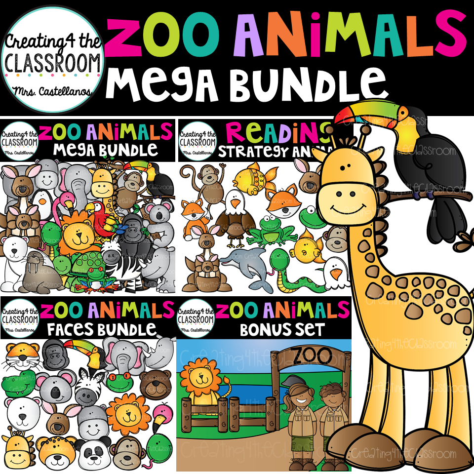 Animals zoo clipart image free download Zoo Animals Clip Art Mega Bundle image free download