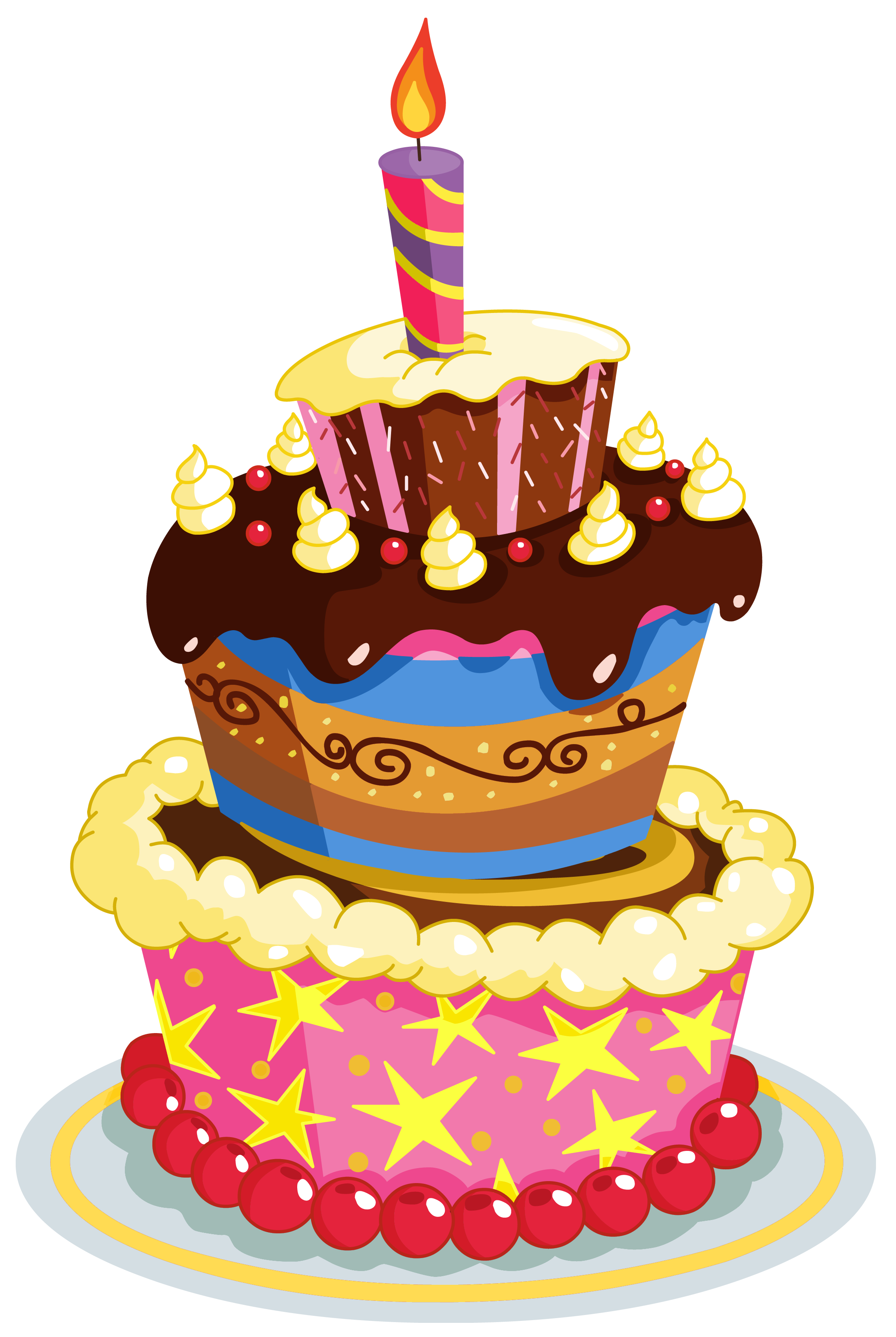 Clipart of birthday cake. Colorful png clip art