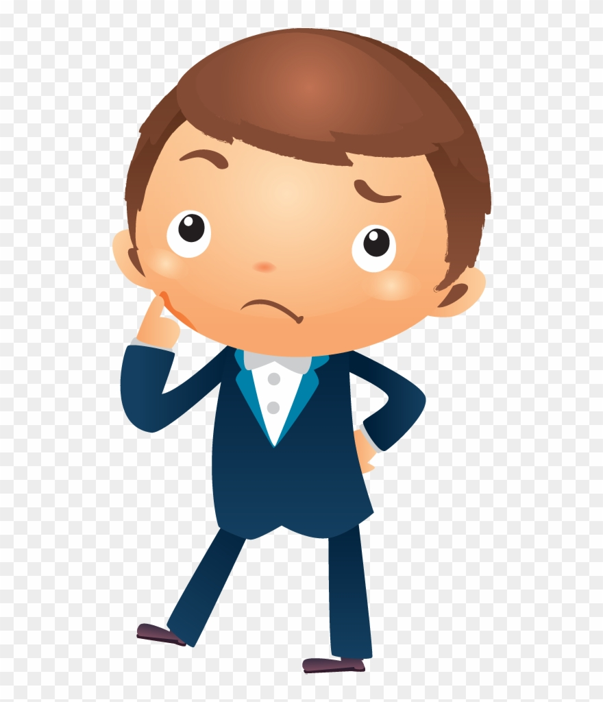 Animated boy thinking clipart png freeuse library Cartoon Businessman Thinking With Hand Pointing Near - Boy Thinking ... png freeuse library