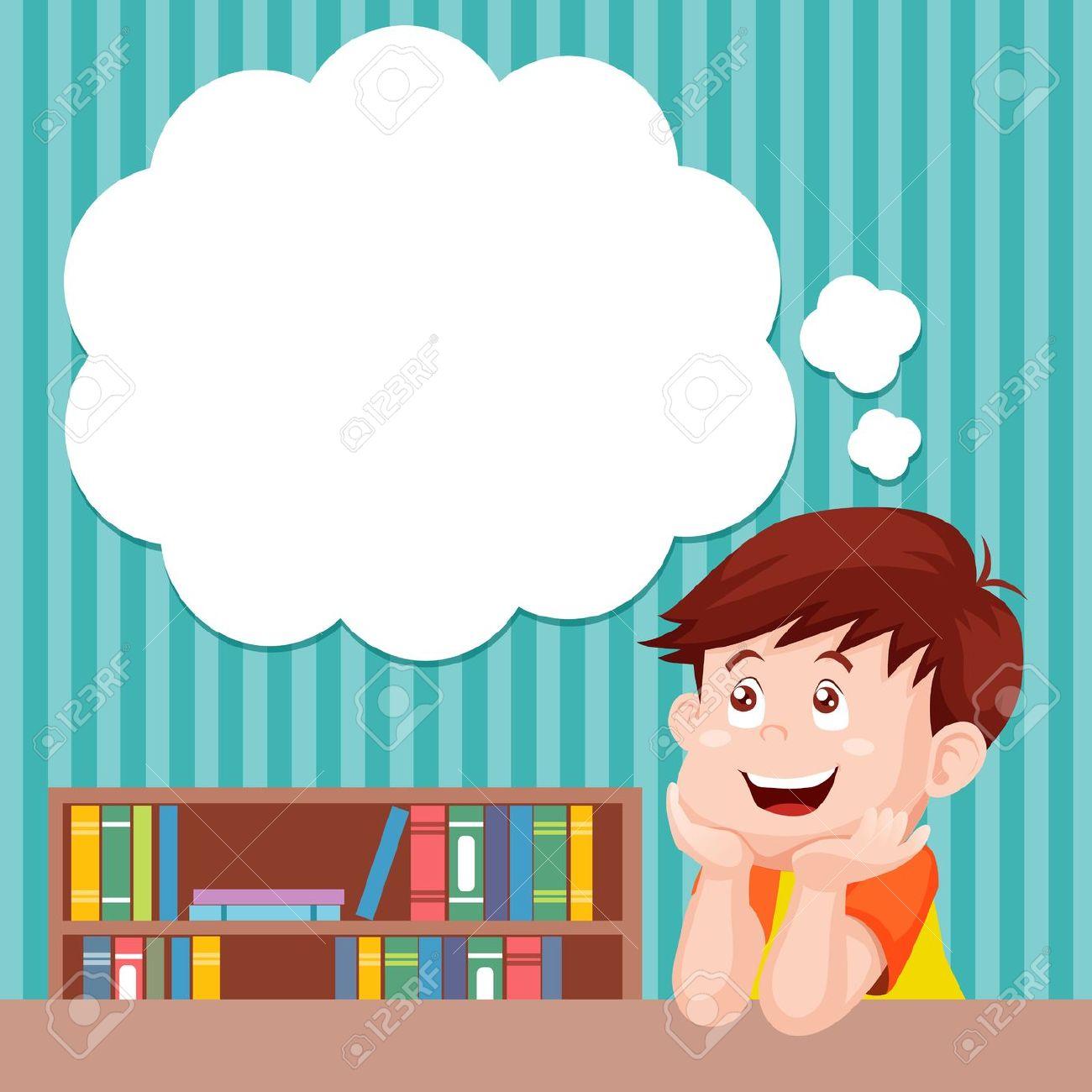 Animated boy thinking clipart