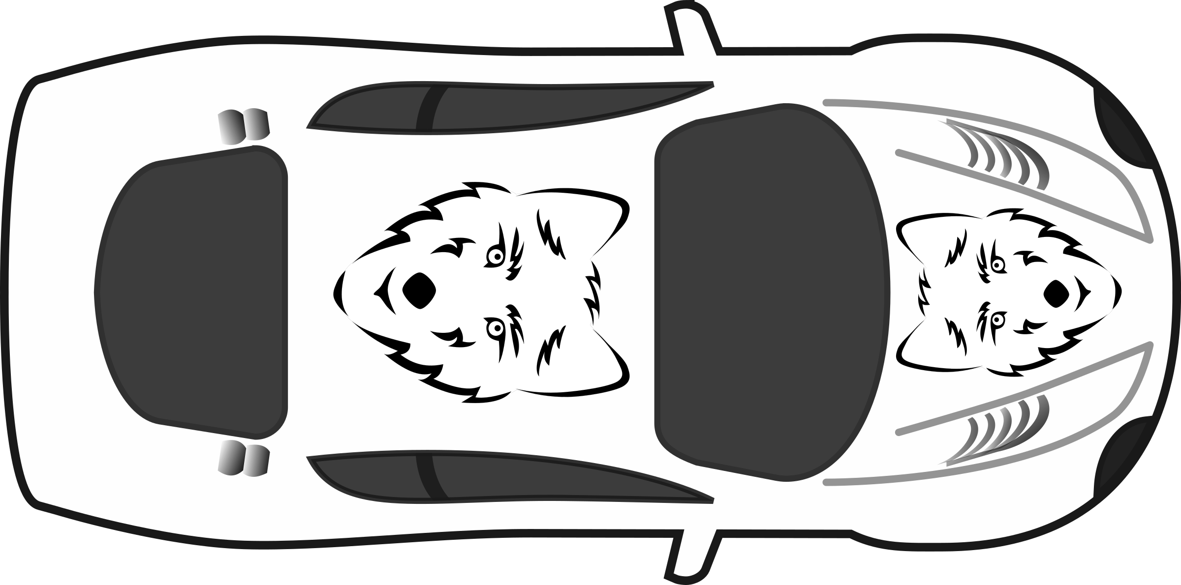 Car with hood open clipart jpg transparent library Clipart - Wolf Paint Job on Car Top View jpg transparent library