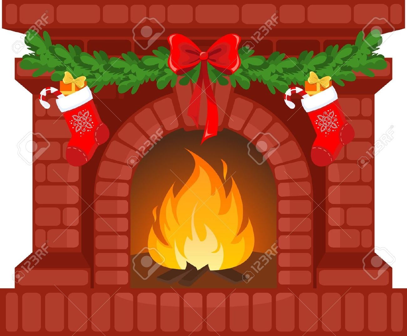 Animated christmas fireplace clipart