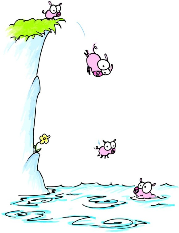 Cliff diving clipart clip black and white Cartoon Pigs Jumping Off Cliff Clipart - Clip Art Library clip black and white