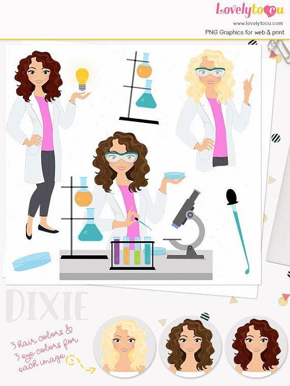 Watercolor science lab coat clipart svg transparent Scientist woman character clipart, science lab girl, beaker ... svg transparent