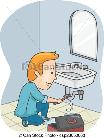 Animated clipart plumbing leak image Vector of Plumber Fixing Pipe - Illustration Featuring a Plumber ... image