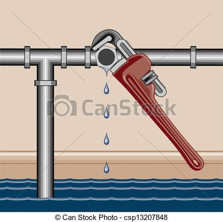 Animated clipart plumbing leak graphic black and white library EPS Vector of Leaking Pipe Repair - Illustration of a leaking ... graphic black and white library