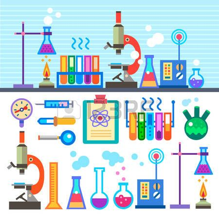 Animated clipart scientific equipment banner black and white download cartoon science equipment: Chemical Laboratory in flat style ... banner black and white download