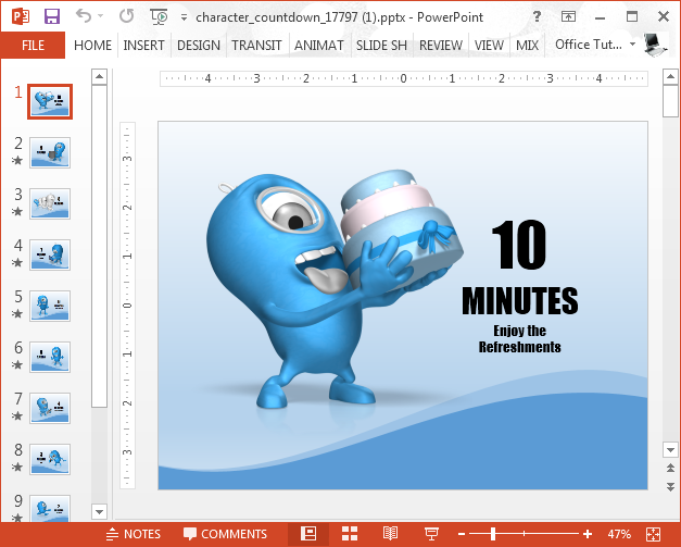 Animated countdown clipart clip black and white library Animated 10 Minute Countdown PowerPoint Template - SlideHunter.com clip black and white library