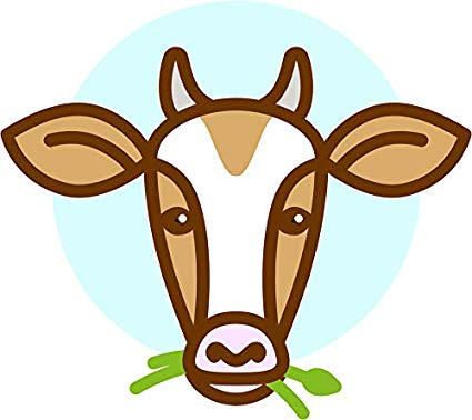 Animated cow eating grass clipart clip freeuse stock Amazon.com: Cute Simple Cow Eating Grass Cartoon Emoji Vinyl Sticker ... clip freeuse stock