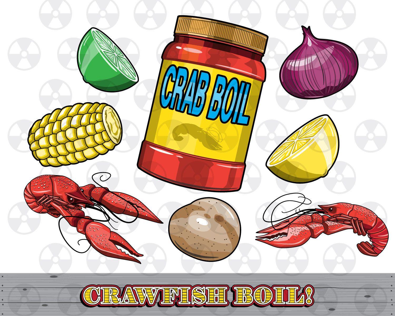 Animated crawfish boil clipart image transparent stock Louisiana Vector Clipart, Crawfish Boil Clipart, Crawfish Digital ... image transparent stock