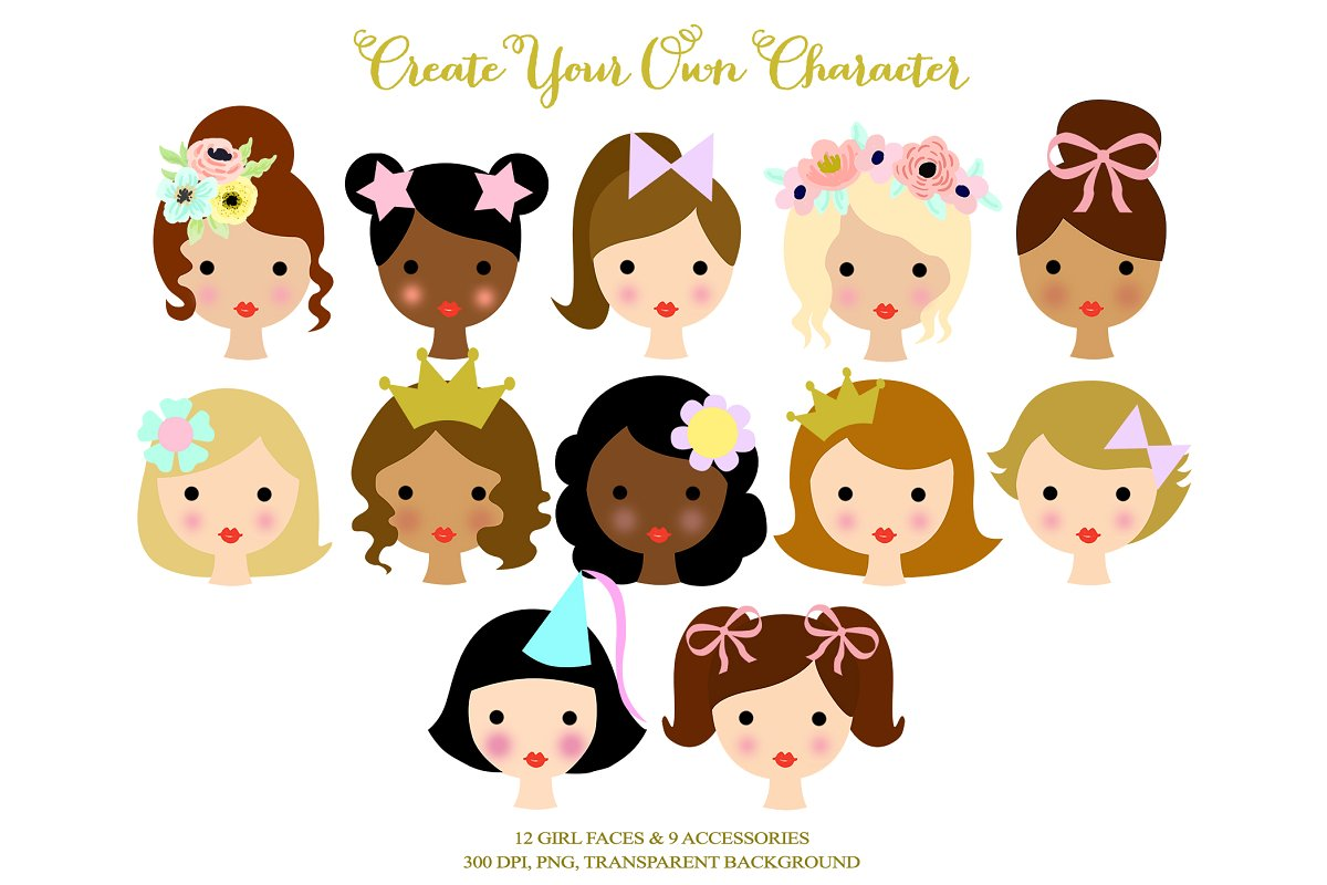 Animated cute girl characters clipart