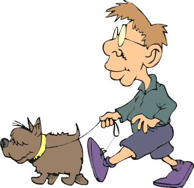 Animated dog walking clipart