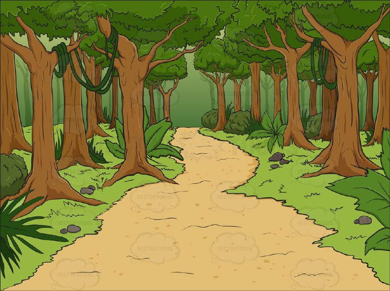 Lush with walking path. Forest cartoon clipart