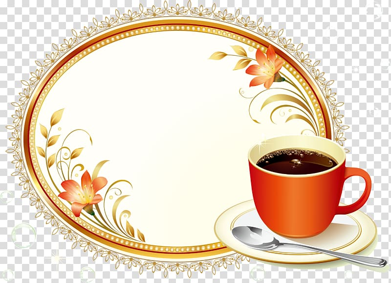 Animated glitter teacup and saucer clipart transparent background graphic transparent library Red cup filled with coffee on top of white saucer beside spoon ... graphic transparent library