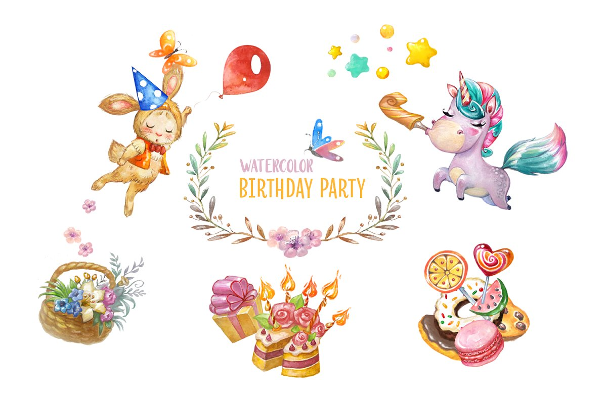 Animated happy birthday ilya clipart clip art free library Birthday Party collection ~ Illustrations ~ Creative Market clip art free library