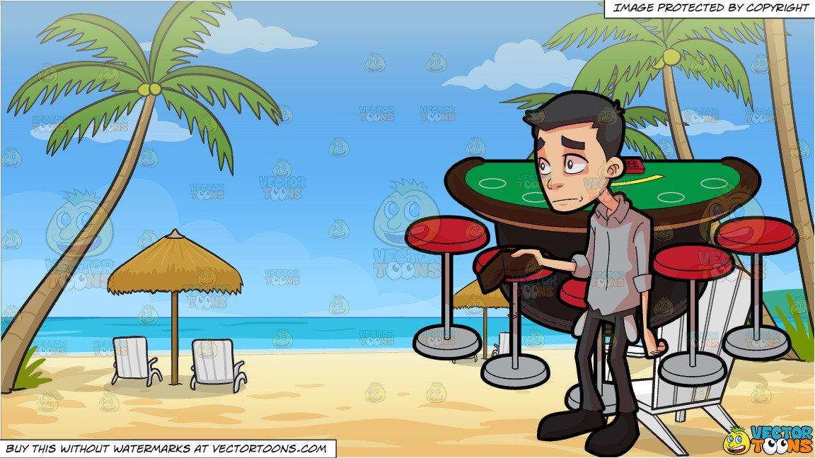 Animated happy birthday with poker for men clipart graphic freeuse download A Man Going Bankrupt Playing Poker and Loungers On The Beach Background graphic freeuse download