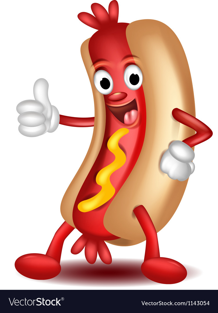 Animated hot dog clipart banner black and white stock Cartoon hotdog banner black and white stock