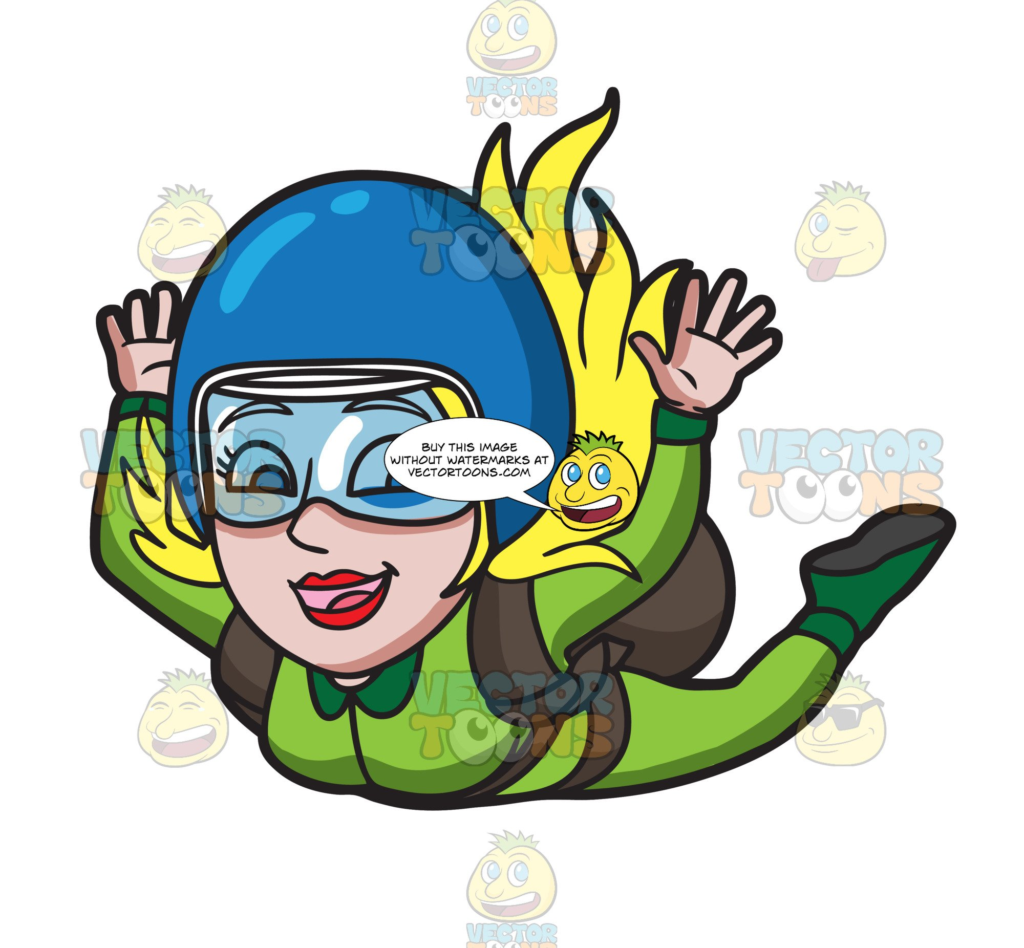 Skydiving cartoon clipart svg black and white library A Woman Enjoying Her Skydive svg black and white library