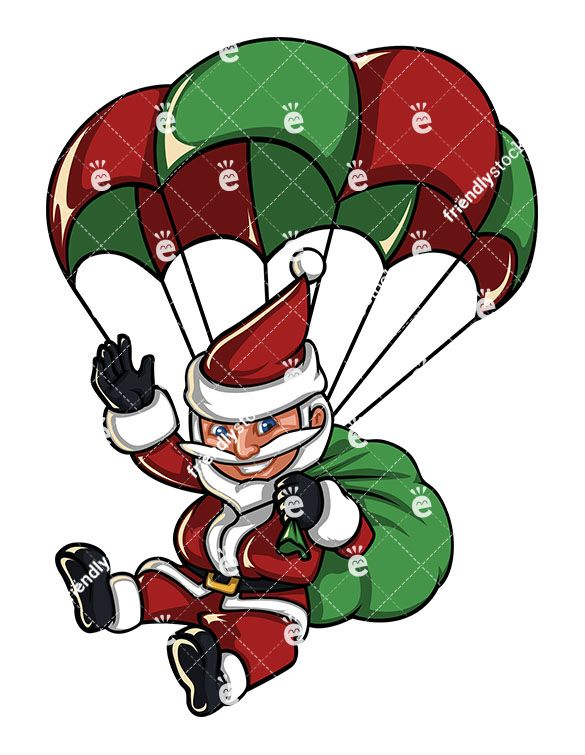 Short gifts clipart banner royalty free stock A Santa Claus Skydiving With A Parachute Carrying A Gift Bag ... banner royalty free stock