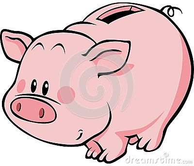 Animated piggy bank clipart. Cartoon royalty free stock