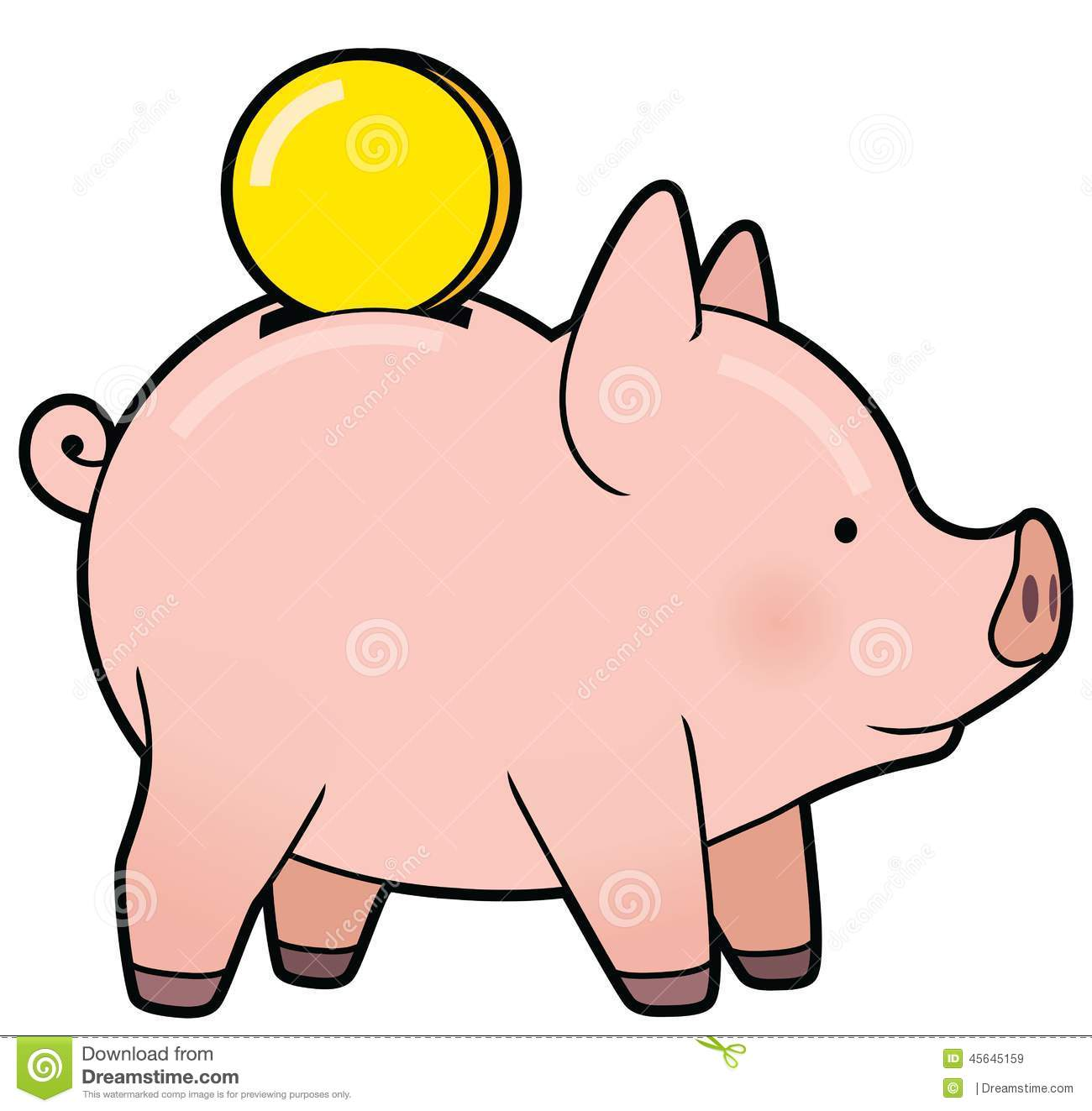 Animated piggy bank clipart. With coin cartoon stock