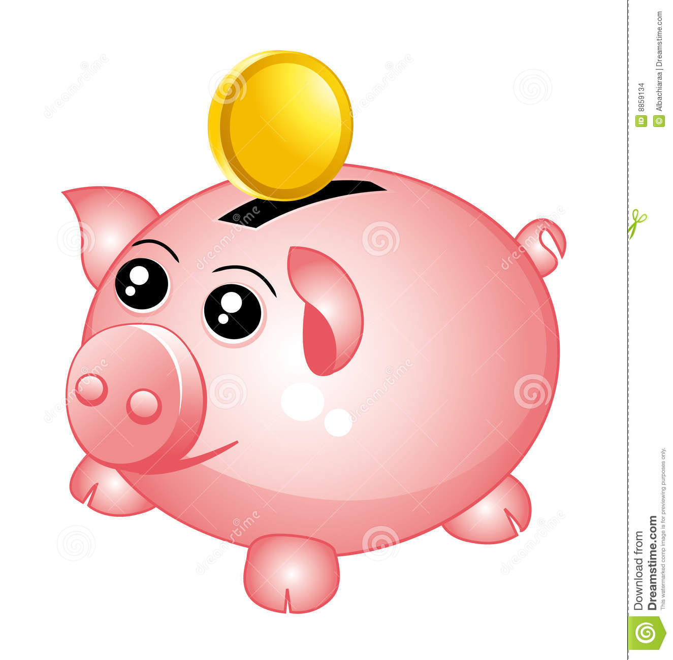Animated piggy bank clipart. With coin