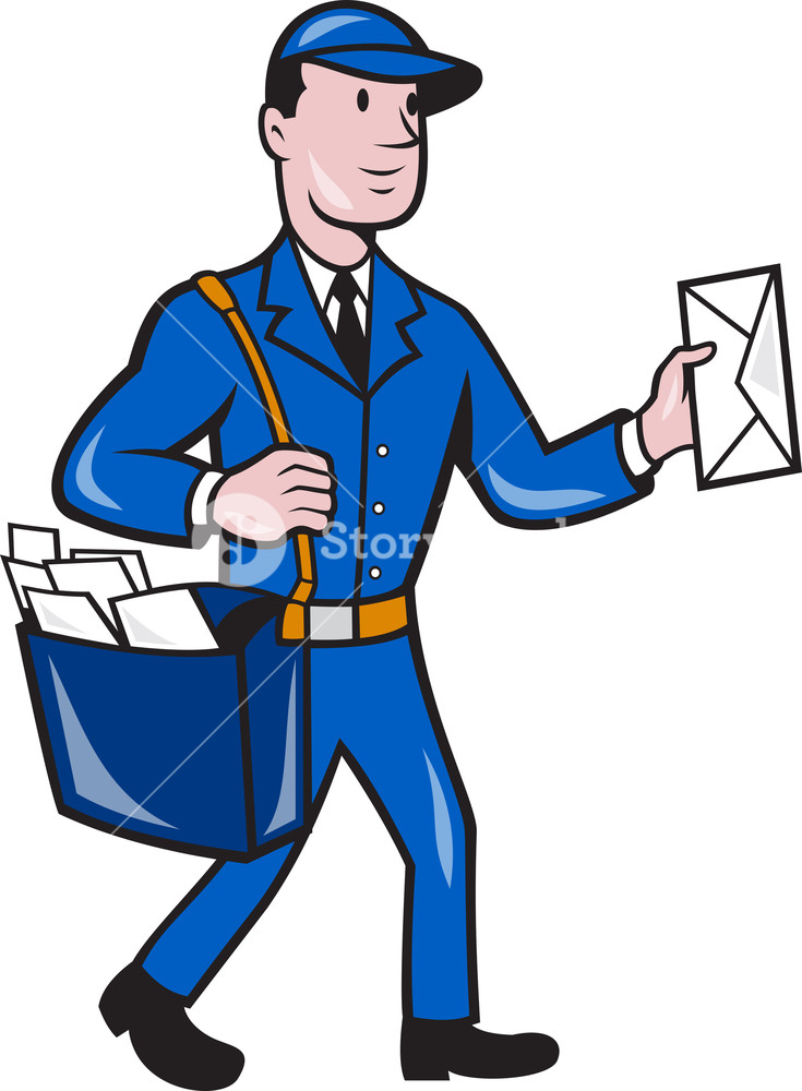 Animated postman clipart vector royalty free Mailman Postman Delivery Worker Isolated Cartoon Royalty-Free Stock ... vector royalty free
