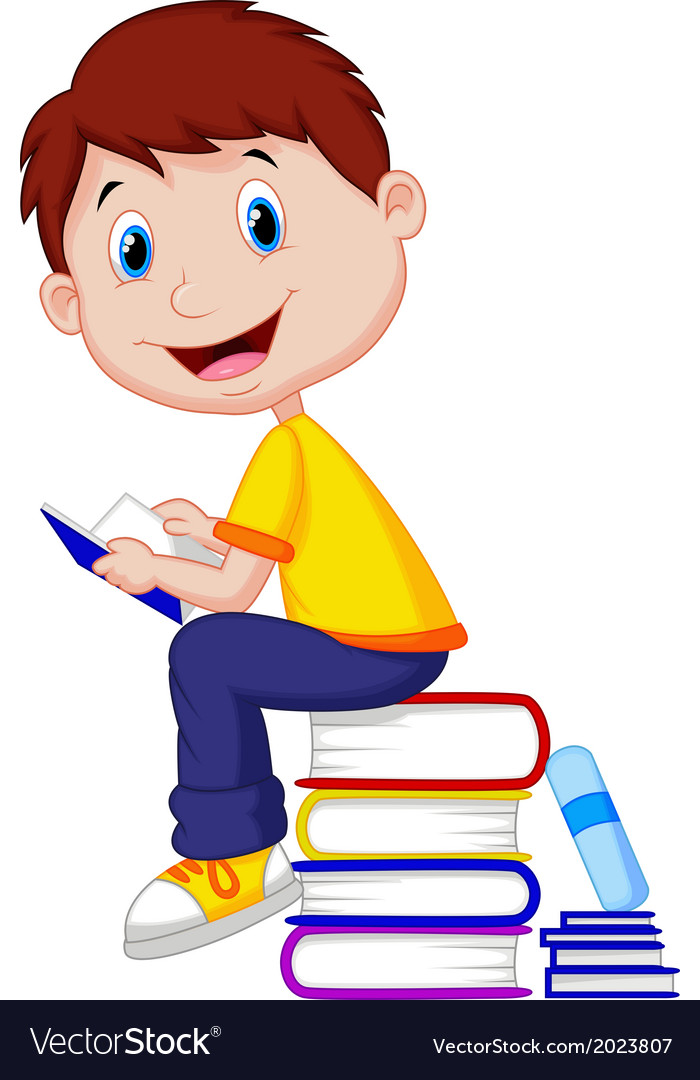 Animated reading books clipart banner stock Boy cartoon reading book banner stock