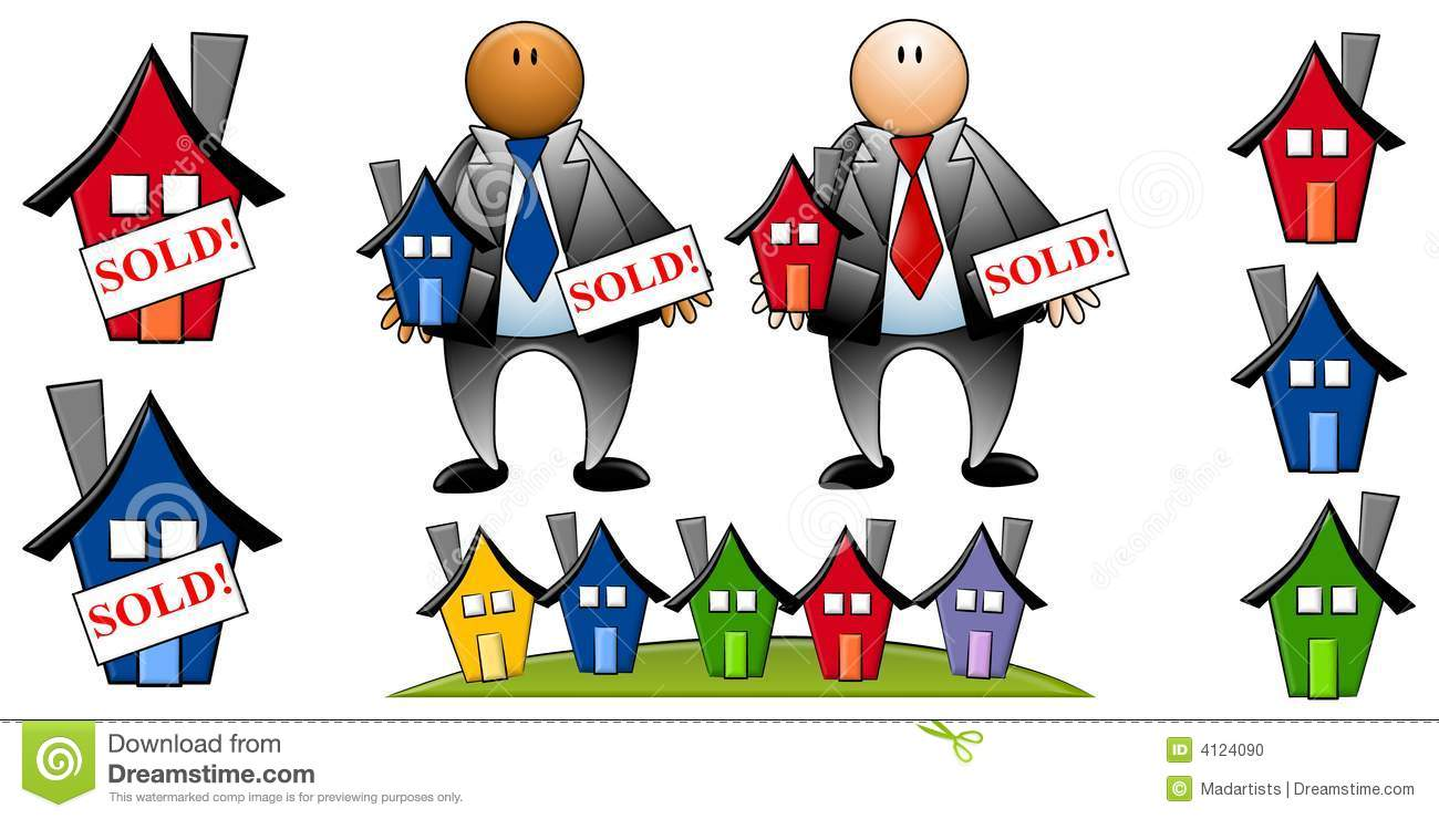 Animated real estate clipart. Agents with houses stock