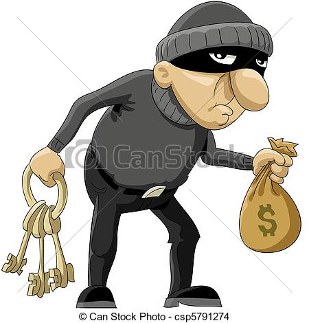 Animated robber clipart. Kid vector ladr n