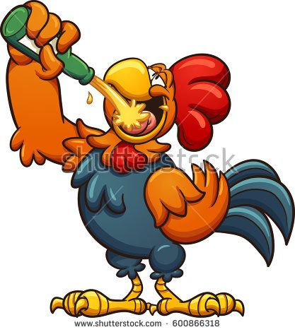 Animated rooster clipart jpg library download Drunk cartoon rooster drinking a beer. Vector clip art illustration ... jpg library download