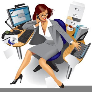 Clipart secretary doing it all