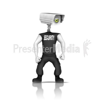 Animated security camera clipart vector black and white library Guard With Security Camera Head - Science and Technology - Great ... vector black and white library