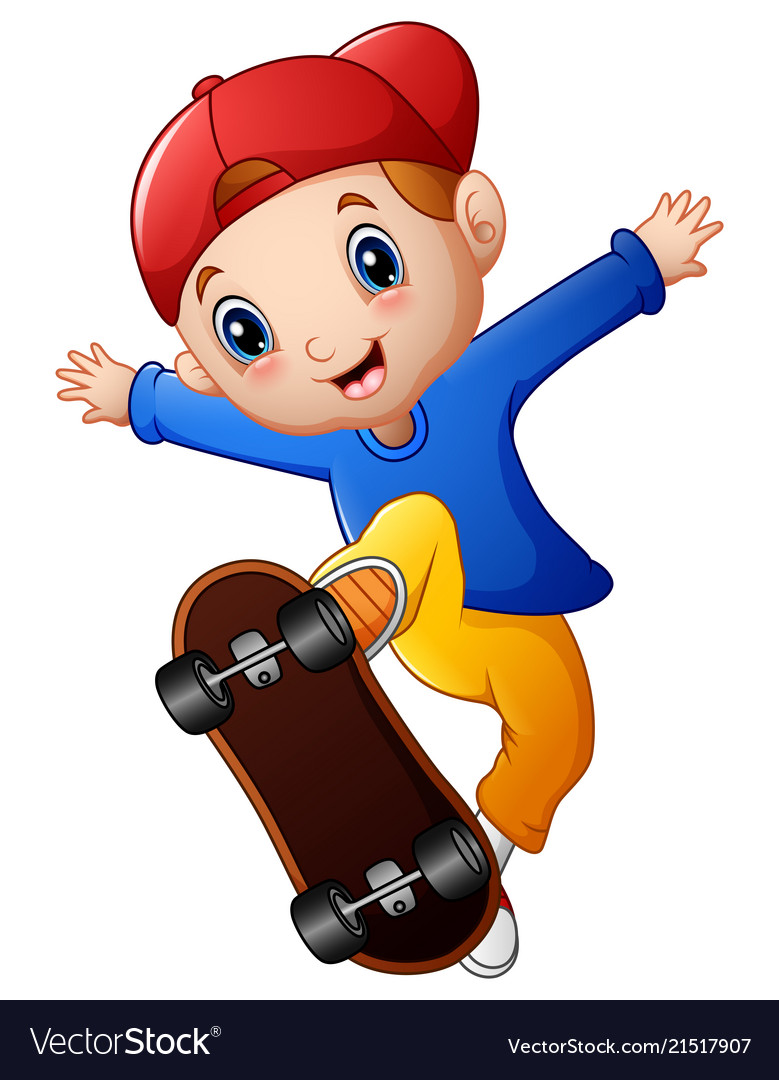 Animated skateboard clipart svg black and white library Little boy cartoon playing skateboard svg black and white library