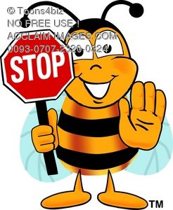 Animated stop clipart vector free library Clipart Illustration: Cartoon Bumble Bee or Honey Bee Holding a Stop ... vector free library