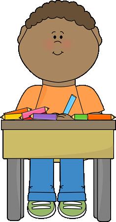 Boy sitting at desk clipart