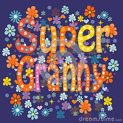 Cartoon stock photography image. Animated super grandma clipart