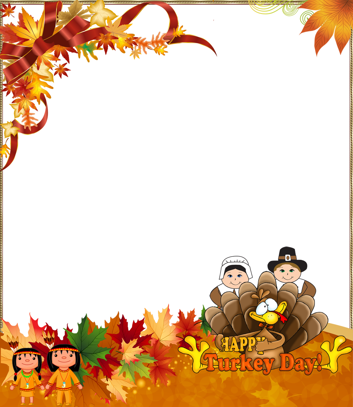 Turkey clipart frame banner black and white stock Thanksgiving clipart frame ~ Frames ~ Illustrations ~ HD images ... banner black and white stock