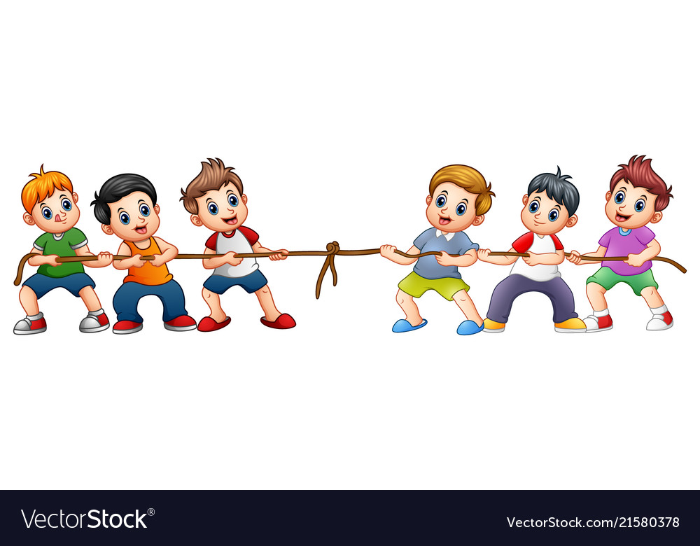 Group of children playing tug of war svg transparent