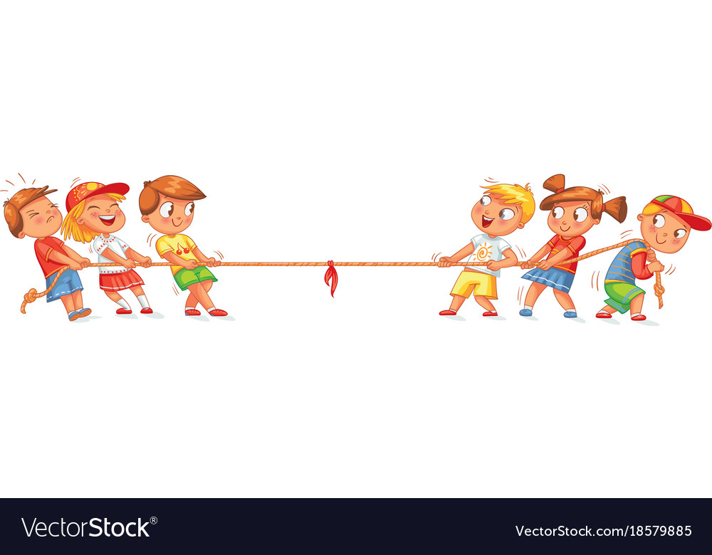 Children pull the rope kids playing tug of war clipart transparent
