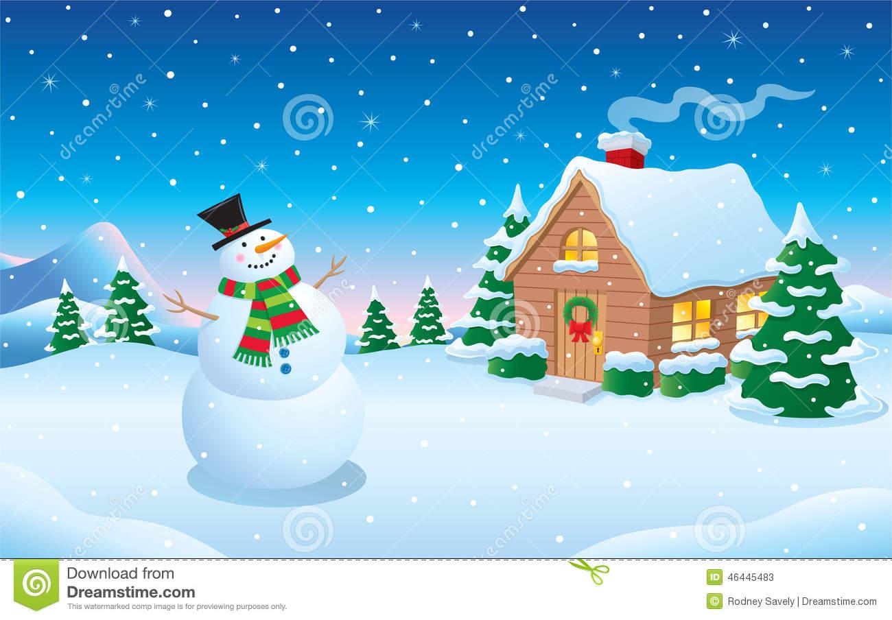 Library of snowman scene clipart