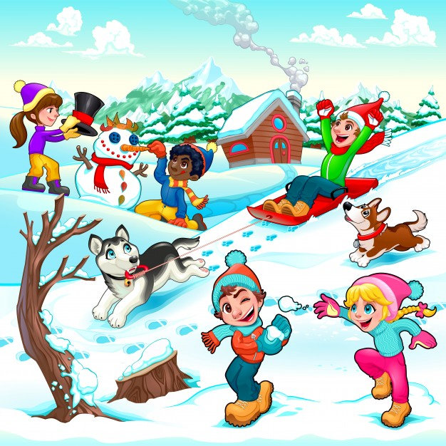 Animated winter scenes clipart clip art Funny winter scene with children and dogs cartoon vector ... clip art