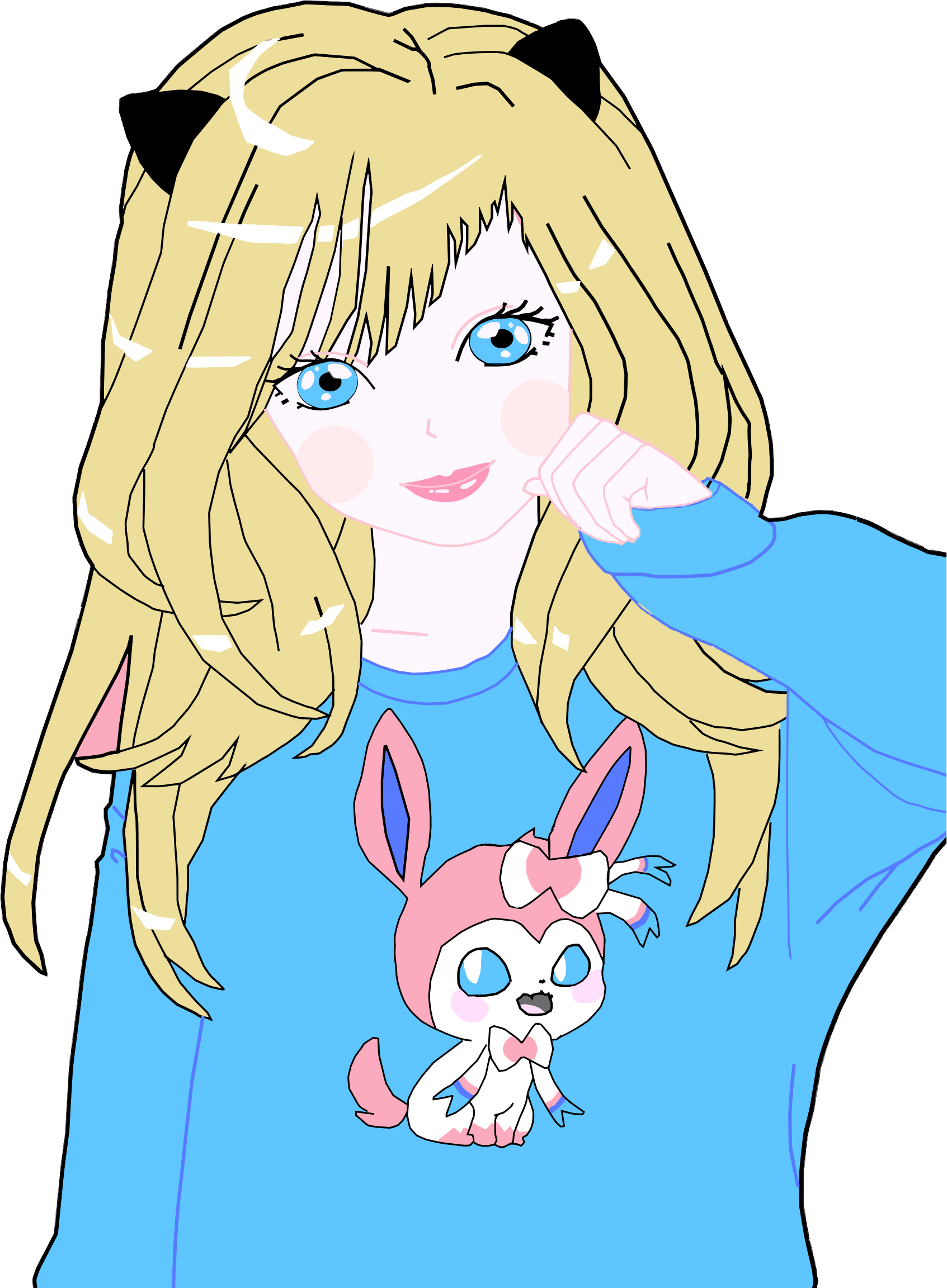 Girl with cat clipart clipart royalty free stock Clipart - Blonde Anime Cat Girl clipart royalty free stock